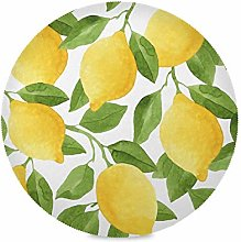 ALARGE Round Placemat,Watercolor Fruit Lemon Tree