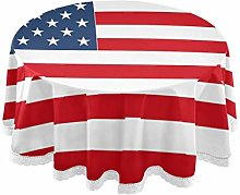ALARGE Round Tablecloths American USA Flag Stripe