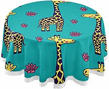 ALARGE Round Tablecloths Funny Animal Giraffe