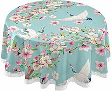 ALARGE Round Tablecloths Watercolor Floral Japan