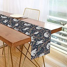 ALARGE Table Runner Floral Flower Animal Sloth