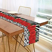 ALARGE Table Runner Floral Flower Leopard Zebra