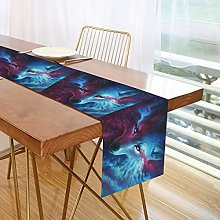 ALARGE Table Runner Funny Watercolor Galaxy Animal