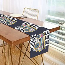 ALARGE Table Runner Retro Music Cartoon Boombox