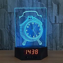 Alarm Clock Acrylic 3D Calendar Desk Lamp LED
