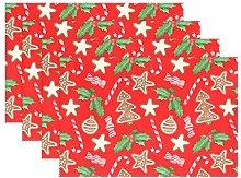 ALAZA Christmas Decoration Placemats Set of 6,