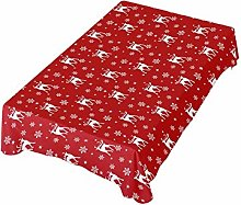 ALAZA Fabric Tablecloth, Elk And Snowflakes