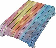 ALAZA Fabric Tablecloth, Rainbow Old Wood