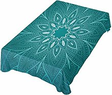 ALAZA Fabric Tablecloth, Teal Mandala Floral