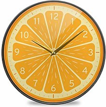 ALAZA Large Round Silent Wall Clock, Orange Lemon