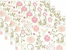 ALAZA Personalised Placemats Set of 6, Vintage
