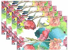 ALAZA Personalised Placemats Set of 6, Watercolor