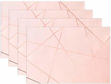ALAZA Placemats Set of 4, Geometric Rose Gold Line