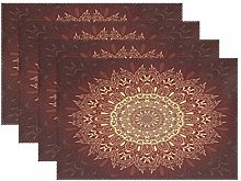 ALAZA Placemats Set of 4, Gold Round Mandala