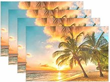 ALAZA Placemats Set of 4, Landscape Beach Palm