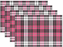 ALAZA Placemats Set of 4, Pink And Black Plaid
