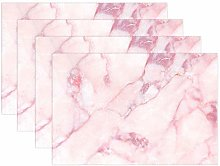 ALAZA Placemats Set of 6, Pink Marble Pattern