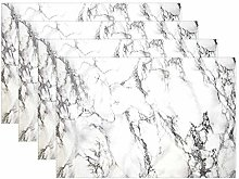 ALAZA Placemats Set of 6, White Marble Dining