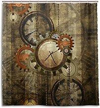 ALAZA Retro Steampunk Clocks and Gears Shower