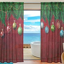 ALAZA Sheer Voile Curtains, Christmas Snowflakes