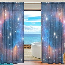 ALAZA Sheer Voile Curtains, Colorful Space Star