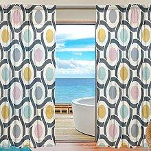 ALAZA Sheer Voile Curtains, Geometric Retro Circle
