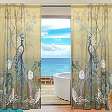 ALAZA Sheer Voile Curtains, Herons Peacock And