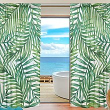 ALAZA Sheer Voile Curtains, Palm Tree Leaves