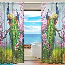 ALAZA Sheer Voile Curtains, Peacock And Flower