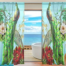 ALAZA Sheer Voile Curtains, Peacock Polyester
