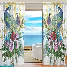 ALAZA Sheer Voile Curtains, Vintage Peacock And