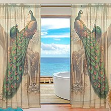 ALAZA Sheer Voile Window Curtain Art Peacock in