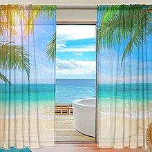 ALAZA Sheer Voile Window Curtain Tropical Beach