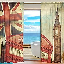 ALAZA Sheer Voile Window Curtain Union Jack UK