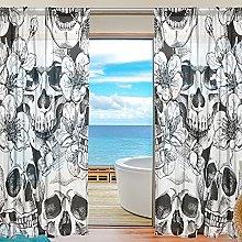 ALAZA Sheer Voile Window Curtain Vintage Sugar
