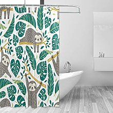 ALAZA Shower Curtain, Cute Sloths And Tropical