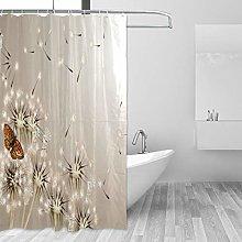ALAZA Shower Curtain, Dandelion Butterfly Bathroom
