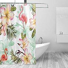 ALAZA Shower Curtain, Flamingo And Pink Plumeria