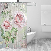 ALAZA Shower Curtain, Floral Rose Flower Butterfly
