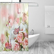 ALAZA Shower Curtain, Flowers And Butterflies Pink