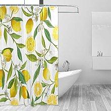 ALAZA Shower Curtain, Lemon Floral Bathroom