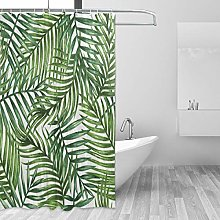ALAZA Shower Curtain, Palm Tree Leaves Pattern