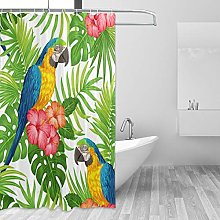 ALAZA Shower Curtain, Tropical Floral Pattern With