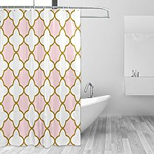 ALAZA Shower Curtain, Vintage Rose Gold Moroccan