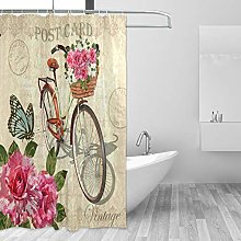 ALAZA Shower Curtain, Vintage Roses Butterflies