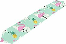 ALAZA Table Runner Flamingo Pineapple Palm Leave