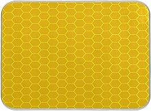 ALAZA Yellow Honeycomb Hexagon Dish Drying Mat for