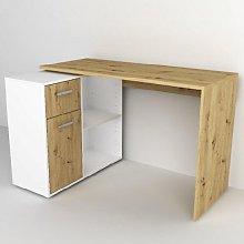 Albea Rotating Corner Computer Desk In Artisan Oak