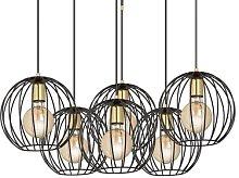 Albio 6 pendant light with cage lampshades, black