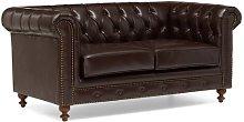 Alborghus Genuine Leather 2 Seater Chesterfield